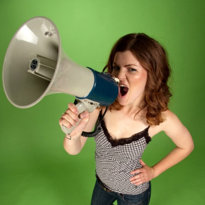 Girl with megaphone - speak out